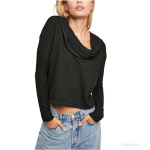 Free People Wildcat Cropped Thermal In Black XS